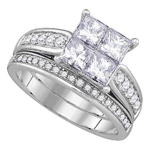 14k White Gold Princess Diamond Womens Luxury Quad Wedding Bridal Ring Set 1.00 Cttw