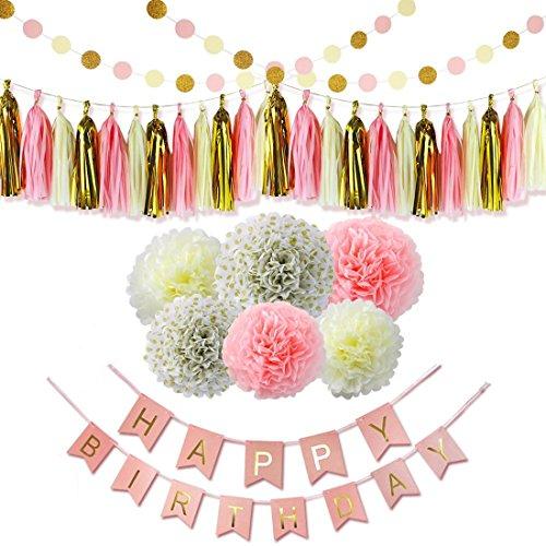 ravpump 24pcs–Kit de decoraciones fiesta de cumpleaños 6pompones de papel, papel de 15borlas, 2Círculo...