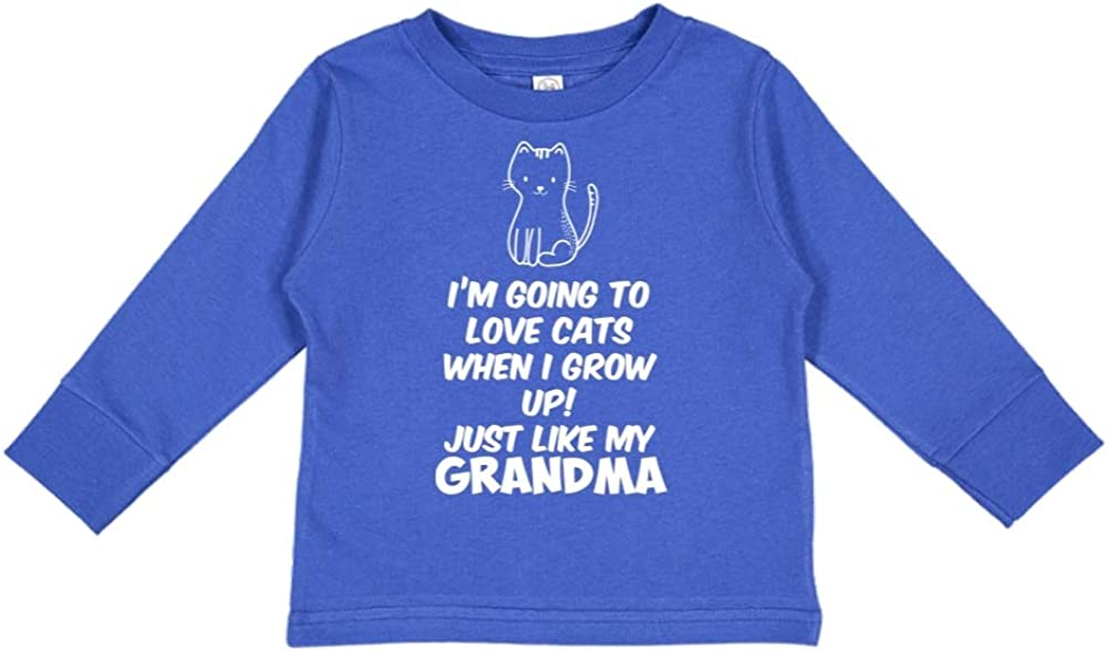 Just Like My Grandma Im Going to Love Cats When I Grow Up Toddler//Kids Long Sleeve T-Shirt