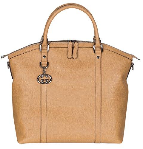 Gucci Beige Calf Leather GG Pendant Hobo Shoulder Bag - Handbags Women Gucci