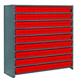 Quantum Storage Systems CL1239-401RD Closed Shelving System with Super Tuff Euro Drawers, 54 QED401 Shelf Bins, 12'' D x 36'' W x 39'' H, Red
