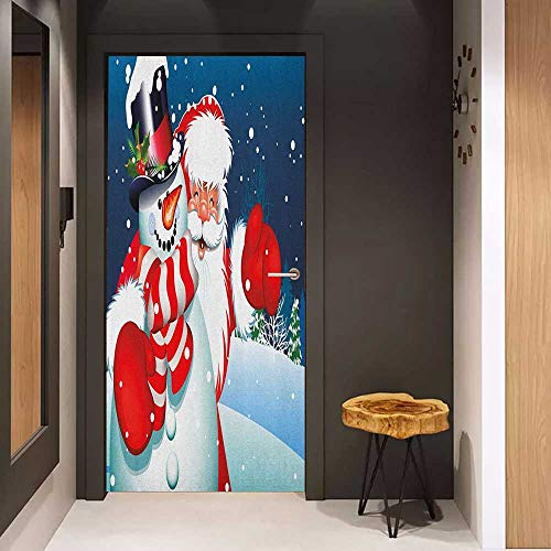 Onefzc Soliciting Sticker for Door Christmas Smiling Santa Claus Hugging Snowman in Cartoon Style Winter Hills Fir Trees Mural Wallpaper W23.6 x H78.7 Blue Red White ()