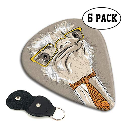 Guitar Picks 6 pcs,Sketch Portrait Of Funny Modern Ostrich Bird With Yellow Eyeglasses And Tie