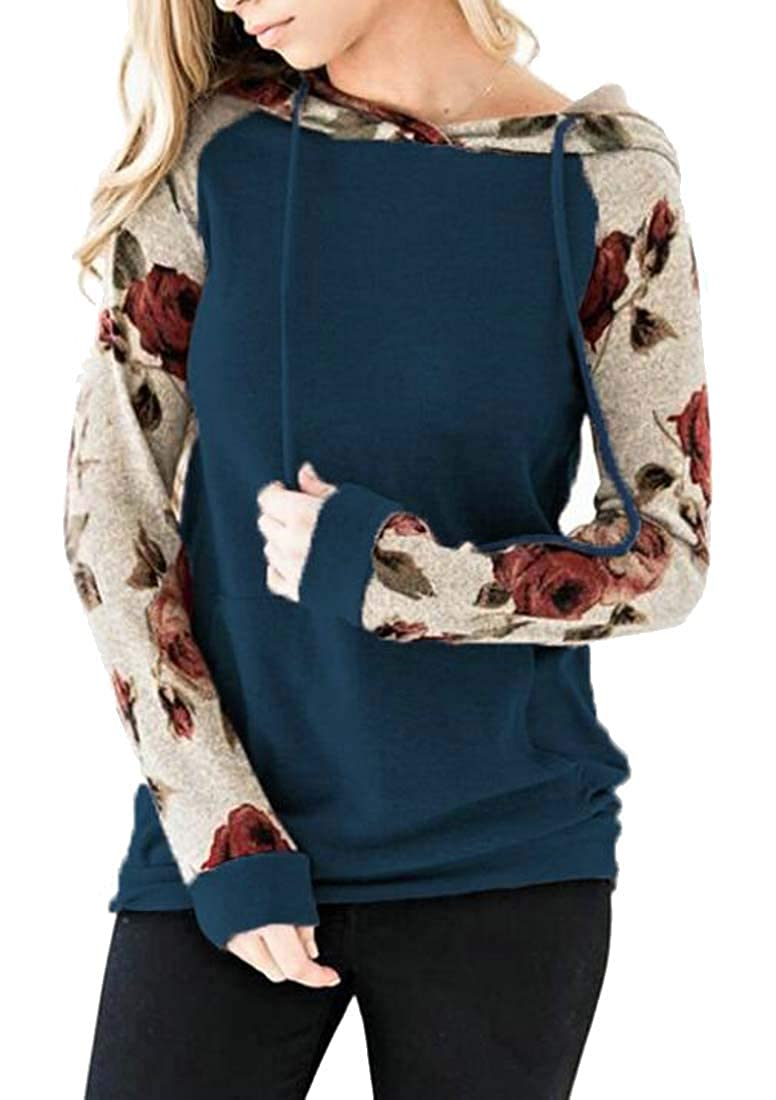 Frieed Women Pocket Loose Patchwork Casual Print Pullover Hooded Sweatshirt Top