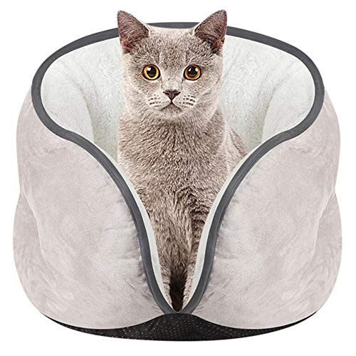 Cat Bed Pet Kitten Cat Bed Suede Semi-Closed Edging Cat Litter Cushion Mat Super Soft Warm Kennel Dog Puppy House for Cat Dog - 15.74 x 11.02 inch -