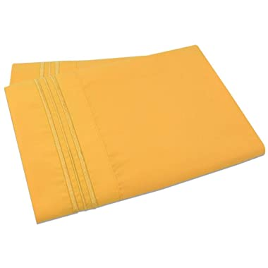 Mezzati Luxury Set of 2 Pillow Cases - Sale 1800 Prestige Collection Brushed Microfiber Bedding (Yellow, Set of 2 King Size Pillow Cases)