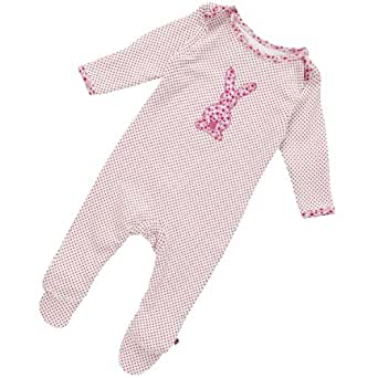 Piccalilly Baby Girl Organic Cotton Bunny Footie Romper Coverall (3-6 Months)