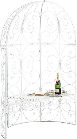 Halbpavillon Rosie mit Sitzbank Gartenlaube Eisen Halblaube Rosenbogen mit Bank
