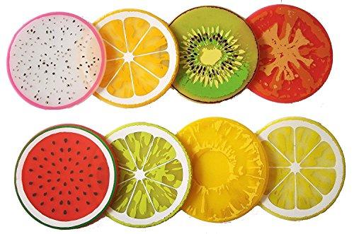 8Pcs Da.Wa Creative Colorful Fruit Silicone Non-Slip Heat Insulation Cup Coasters Tabletop Cup Mat Bowls Mat