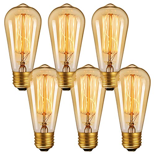 TORCHSTAR 60W ST64 Retro Edison Bulb with E26 Base, Dimmable Vintage Squirrel Cage Filament Light Bulb, 5000K Daylight, for Pendant, Chandelier