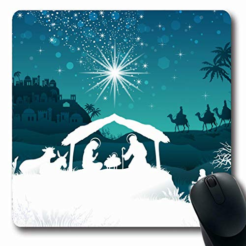 (Ahawoso Mousepads for Computers Light Christmas Nativity Scene Holy Family Magi Dad Oriental Holidays Jesus Crib Gold Manger Design Oblong Shape 7.9 x 9.5 Inches Non-Slip Oblong Gaming Mouse)