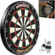 Whimlets Professional Dart Board Set - Bristle/Sisal Tournament Dartboard with Complete Staple-Free Ultra Thin