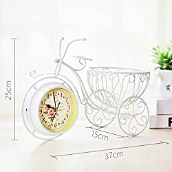 AJZGFOutdoor Indoor Display Plant Stand Creative Personality Bicycle Double-Sided Clock Ornaments, Iron Silent Clock Ornament Ornaments (Color : B, Size : #1)