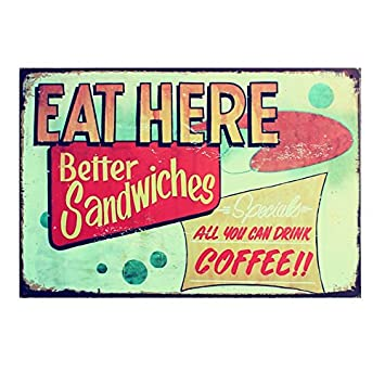 One Size 02 Coffee Vintage Tin Sign Bar Pub Cafe Wall Decor Retro Metal Art Poster