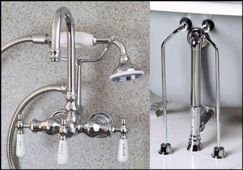 Chrome Gooseneck Clawfoot Tub Faucet Handshower Drain Supply - Gooseneck Clawfoot Tub Faucet