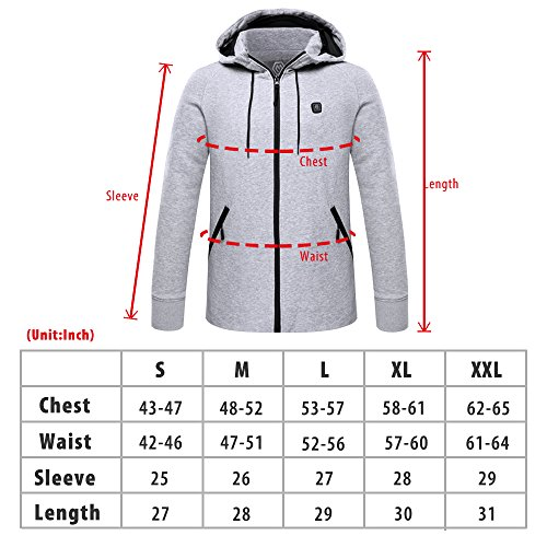 CLIMIX Mens Cordless Heated Hoodie Jacket Kit With Battery Pack (L) by CLIMIX (Image #6)