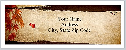 urn Address Labels Fall Autumn Maple leaves (bx 146) ()