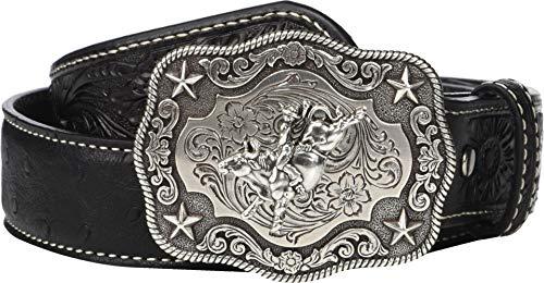 M&F Western Boy's Nocona Ostrich Print Belt w/Bullrider Buckle (Little Kids/Big Kids) Black 22 ()