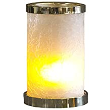 LCM Direct Flamewave – Groundbreaking LED Flameless Votive Candle with Handblown Crackled Glass Holder, White