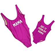 Mother Girl Swimwear Mommy and Me Matching One Piece Beach Wear Family Letters Print Sporty Monokini
