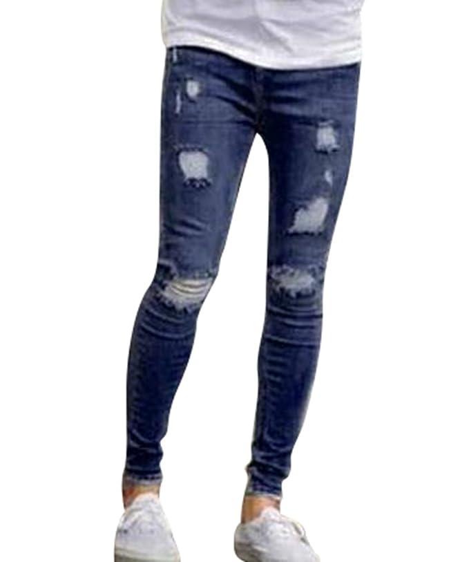 Byqny Delgado Ajustados Pernera Recta Vaquero Elástico De Hombre Skinny Slim Fit Jeans Denim Pantalones Rotos SFukl