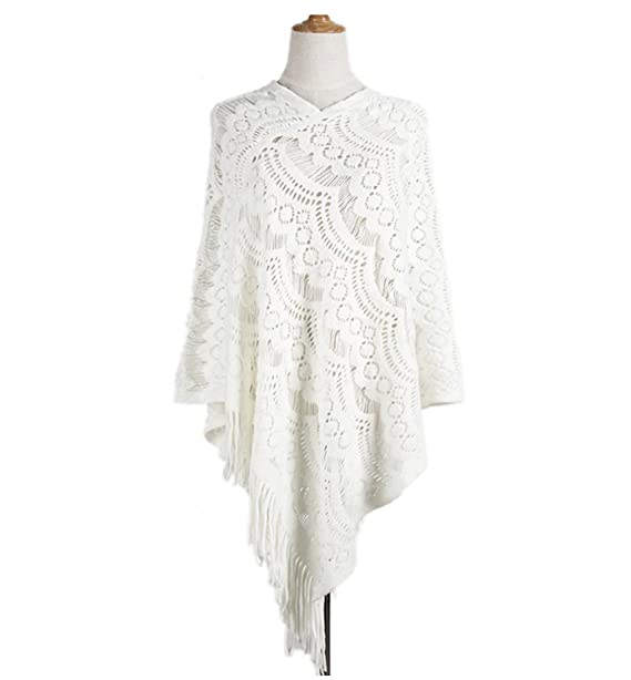 MZLIU Womens Lace Crochet Fringe Hem Poncho Shawl Knit Poncho at ...