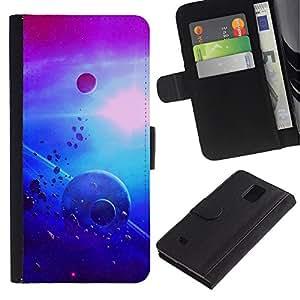 UNIQCASE - Samsung Galaxy Note 4 SM-N910 - Planets In Space - Cuero PU Delgado caso cubierta Shell Armor Funda Case Cover