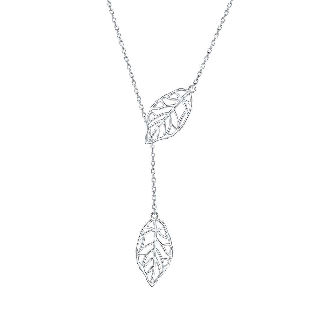 Long Necklace Sterling Silver Leaf Larait Bar Y Lariat Long Chain Drop Adjustable Necklace Gift for Her, 30'' by SILVER MOUNTAIN