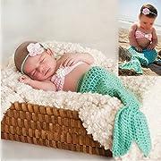 M&G House Fashion Newborn Baby Photography Prop Handmade Crochet Mermaid Headband Bra Tail Outfit