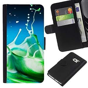 Ihec-Tech / Flip PU Cuero Cover Case para Samsung Galaxy S6 EDGE SM-G925 - Water Drop Color Splash