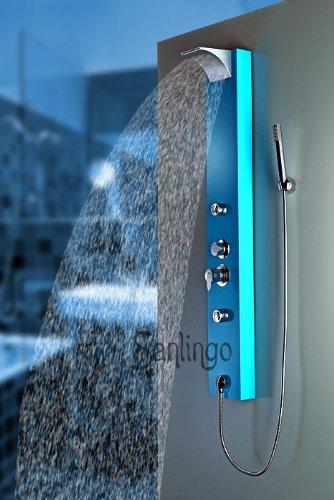 Colonne De Douche Cascade Design.Colonne De Douche Cascade Alu Bleu Hydromassante Sanlingo