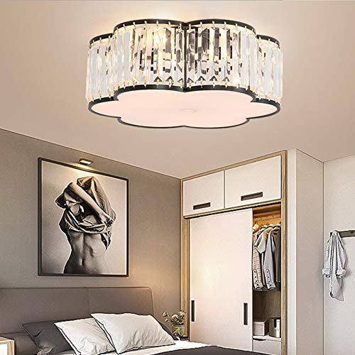 Modern Led Crystal Ceiling Lamp Iron Modern Light Luxury Study Lamp Warm Romantic Bedroom Study Ceiling Lamp (Color : Gold)