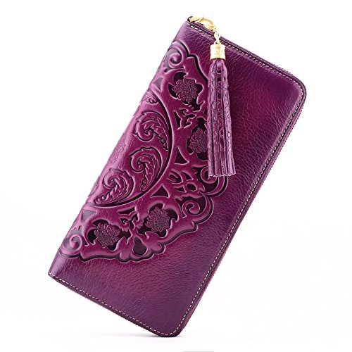 Designer Wallet Zip Around Clutch Leather Purse Handmade Wristlet Violet Long Embossed Naisibao Holder Card Womens Genuine Floral zHtIIx