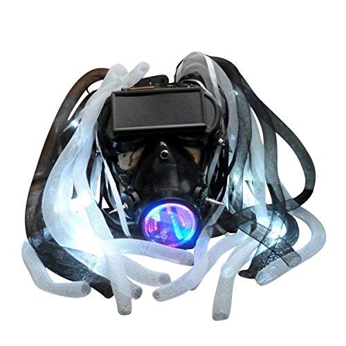 Steampunk goggles LED light dread cyberlock goth RAVE club face gas mask M3