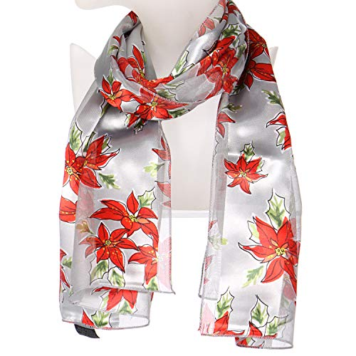 Silk Feel Scarves, Poinsettia Siver