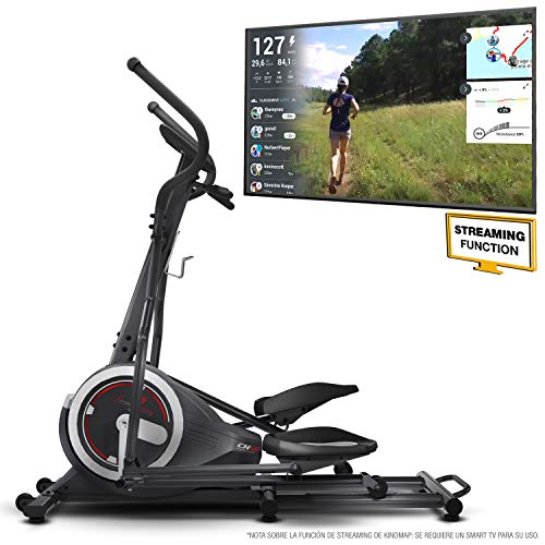 Sportstech CX640 Bicicleta elíptica – Marca de Calidad Alemana – Eventos en Directo & App Multijugador, 24 KG de Masa de Volante, 26 programas de Entrenamiento con HRC, Elíptica + Soporte de Tablet