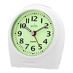 Acctim Sweeper Broadway Smartlite Light & Snooze Bold White Alarm Clock