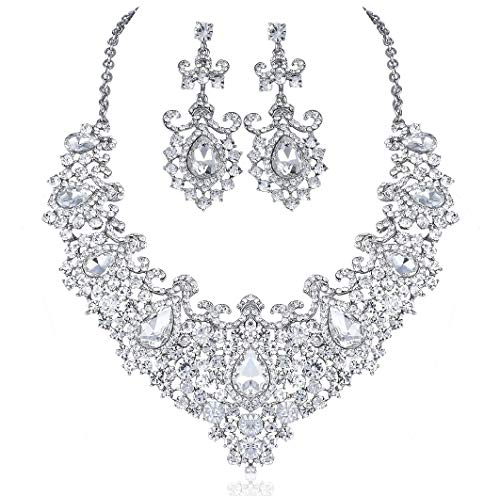 (Janefashions Stunning Clear Austrian Rhinestone Crystal Necklace Earrings Set N12187 Silver)