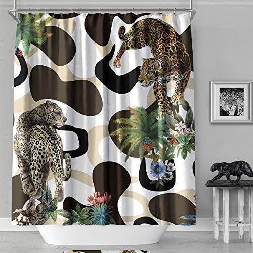 - MACOFE Fabric Shower Curtain,71x71inch,Leopard Print Shower Curtain Waterproof, Machine Washable,Hooks Included,Original Design Hand Drawing(Leopard)