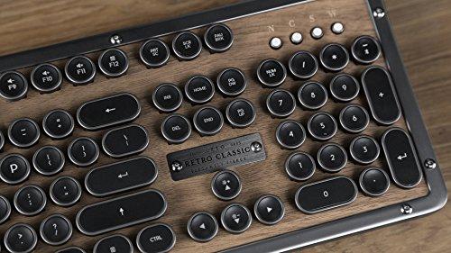 Azio Retro Classic Bluetooth Elwood - Luxury Vintage Backlit Mechanical Keyboard, Brown/Grey (MK-RETRO-W-BT-01-US) by Azio (Image #7)