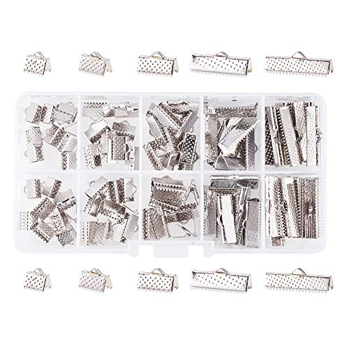 PandaHall Elite About 100 Pcs Iron Ribbon Bracelet Bookmark Pinch Crimp Clamp End Findings Cord Ends Fasteners Clasp Leather Crimp Ends Length 8mm 10mm 13mm 20mm 25mm for Jewelry Making Platinum -