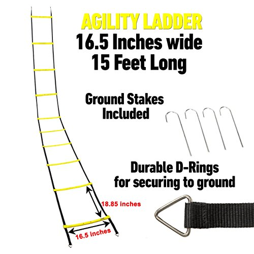 Slayed Sports AGILITY LADDER (15FT) by Workout Equipment Includes Metal Pegs, Carry Bag, and BONUS E-book with Video of Agility Drills and Athletic Development Tips | by Slayed Sports (Image #4)