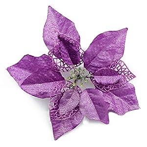 YJBear 10 pcs 7.8 Inch Christmas Glitter Hollow Artificial Poinsettia Fake Flower Christmas Tree Decoration Xmas Wedding Party Flower Home Decor Purple 5