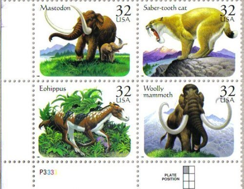 (PREHISTORIC ANIMALS ~ MASTODON ~ EOHIPPUS ~ WOOLLY MAMMOTH ~ SABER-TOOTH CAT #3080a Plate Block of 4 x 32¢ US Postage Stamps)