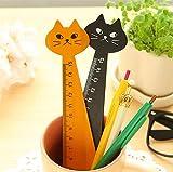200 Pcs 15Cm Wood Straight Ruler Black Yellow Lovely Cat Shape Ruler Gift For Kids School Supplies