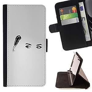Momo Phone Case / Flip Funda de Cuero Case Cover - Cuchillo Ojos Arte Negro Blanco Cocina Mujer - Sony Xperia M5