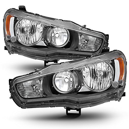(For 08-17 Mit Mitsubishi Lancer Evolution EVO X Factory Style Headlight Lamps Assembly Driver and Passenger Side )