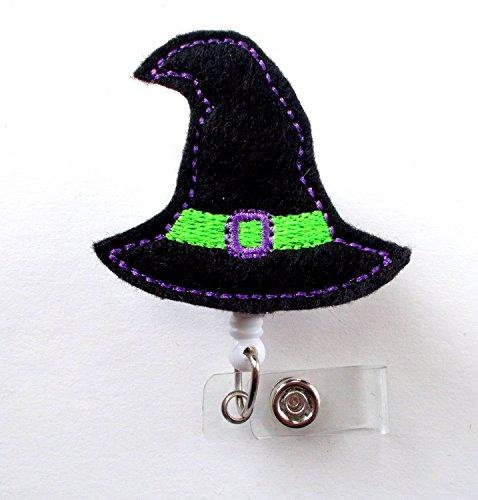 Witch Hat Purple And Green - Name Badge Holder - Halloween Badge Reel - Nurse Badge Holder - Nursing Badge Clip - Felt Badge - Rn Gift - Alligator Clip - Halloween Badges