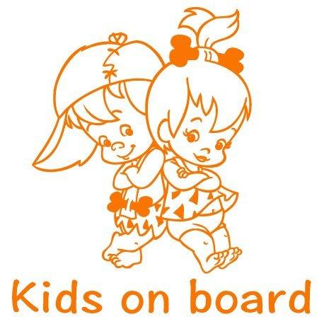 Autoaufkleber Baby Geschwister - Baby on Board Sticker Bambam & Pebbles - Babyaufkleber mit Namen/Wunschtext - (20cm x 20cm) - viele Farben - von stick-us stick us