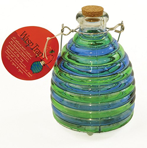 Toland Home Garden Large Blue/Green Pesticide-Free 5.5-Inch Diameter Glass Wasp and Fruit Fly Trap 10247 (Made Wasp Catcher Home)